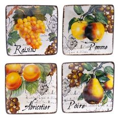 Shop for Botanical Fruit 6-inch Canape Plate (Set of 4). Free Shipping on orders over $45 at Overstock.com - Your Online Kitchen