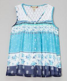 Look at this #zulilyfind! Navy & Turquoise Floral Chiffon Tank by Speechless #zulilyfinds