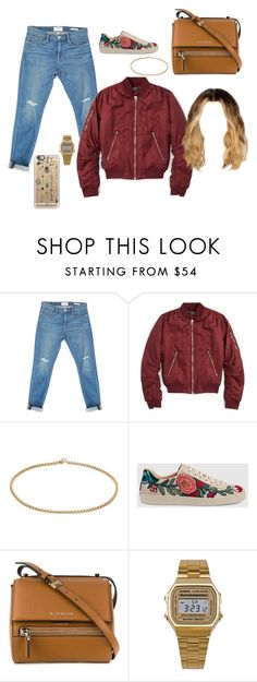 """""""Untitled #2659"""" by stylistcookies ❤ liked on Polyvore featuring Frame Denim, Topshop, Gucci, Givenchy, American Apparel and Casetify"""