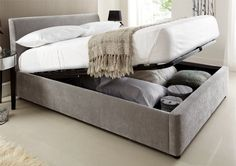 Serenity Upholstered Ottoman Storage Bed - Steel Grey - Double Bed Frame Only Grey Storage Bed, King Size Storage Bed, Lift Storage Bed, Ottoman Storage Bed, King Size Bed Frame, Bed Frame With Storage, Ottoman Bed, Bedroom Storage, Bedroom Décor