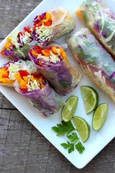Rainbow Vegetable Rolls with Spicy Peanut Sauce