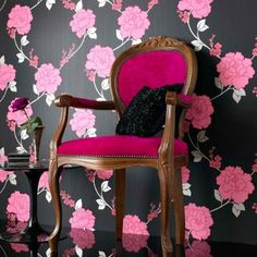 Shantung Black and Pink Flower Wallpaper available to buy online. A Black Designer Wallpaper by Laurence Llewelyn Bowen at best online price. Order today for quick delivery. Pink And Black Wallpaper, Modern Wallpaper, Home Wallpaper, Designer Wallpaper, Wallpaper Patterns, Wallpaper Designs, Beautiful Wallpaper, Wallpaper Decor, Rose Fushia