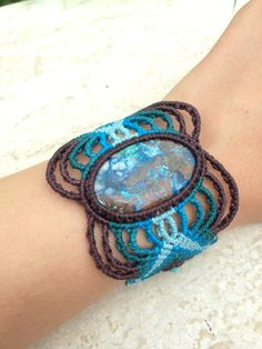 Made to order Azurite Macrame Bracelet turquoise blue-brown colorchange wristband Azure Blue / Sea Blue large gem stone bracelet