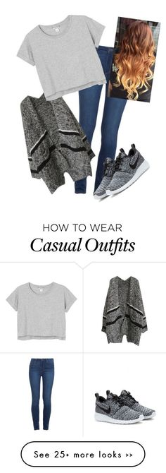 """""""Simple Casual Gray Tee Outfit"""" by rileyadewitt on Polyvore featuring Paige Denim, Monki and NIKE"""