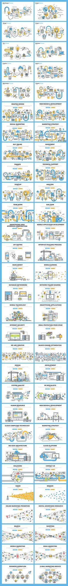 Set of Flat Line Banners for Website Design on Behance