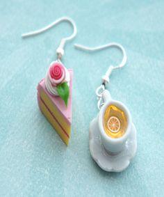 cake and lemon tea dangle earrings