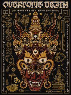'Yama - King of Death' Screen Print on Behance Banner Printing, Screen Printing, Tibetan Art, Psy Art, Art Brut, Hindu Art, Wallpaper Backgrounds, Wallpaper Lockscreen, Girl Wallpaper