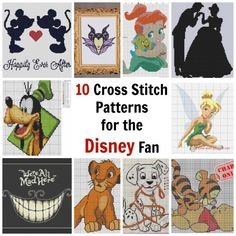 Cross Stitches 10 Cross Stitch Patterns for the Disney Fan - Do you love cross stitch, and love all things Disney? These 10 patterns are perfect for the Disney fan in you. With most of them being for those old classics, you are sure to find somethin… Cross Stich Patterns Free, Cross Stitch Kits, Cross Stitch Designs, Disney Cross Stitches, Cross Stitch Freebies, Cross Stitching, Cross Stitch Embroidery, Embroidery Patterns, Hand Embroidery