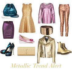 """Metallic Trend Alert"" by modadasha on Polyvore"