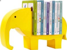 dwell studio elephant book shelf: could this be any cuter. could do this with any animal. love the bright color. Elephant Book, Elephant Themed Nursery, Elephant Room Ideas, Jungle Theme Nursery, Elephant Mobile, Elephant Stuff, Grey Elephant, Nursery Themes, Nursery Wall Art