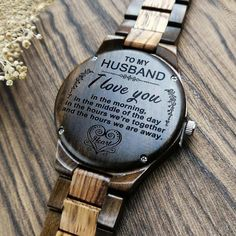 Perfect Gifts For Husband Engraved Wooden Watch Gifts For Fiance, Best Dad Gifts, Love Gifts, Leather Notebook, Wooden Watch, Beautiful Watches, Family Gifts, Creative Gifts, Laser Engraving