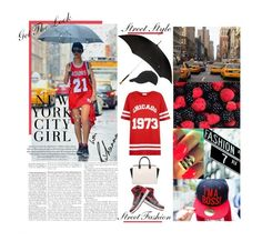 """""""Weather Forecast: It's Raining Red & Black White!!!"""" by mymy ❤ liked on Polyvore featuring TAXI, moussy, adidas, Alexander McQueen, MICHAEL Michael Kors, NIKE, Cameo Rose and H&M"""
