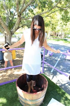 You can stomp grapes at Sterling Vineyards in Napa Valley!
