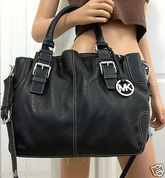 Michael Kors Brookville Large Leather Crossbody Tote Bag Purse Black Handbag