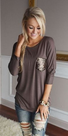 a78e29016bf  fall  outfits women s brown 3 4 sleeve crew-neck shirt Fall Party. Fall  Party OutfitsFall Clothes ...