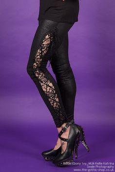 Corseted Lace Side Black Crocodile Leggings