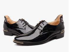 Retro Mens British Brogues Wingtip Oxfords Patent Leather Dress Formal Shoes