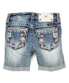 Love this Light Wash Floral Stitch Shorts - Girls by Miss Me on #zulily! #zulilyfinds