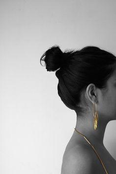 """""""otto"""" long earrings by Maria Solorzano, brass. on sale"""