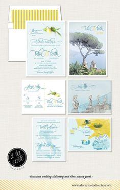Ravello Amalfi Coast Italy Wedding Invitation by alacartepaperie