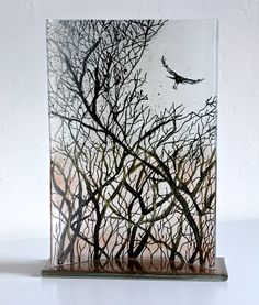 LARGE GLASS PANEL CRAW (CROW) FLYING INTO TREES 30 40 cm