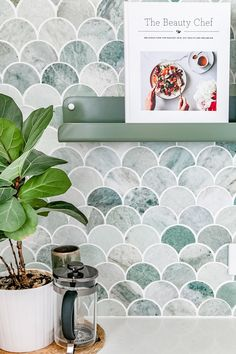 kitchen splashbacks Mermaid Tile Kitchen Splashback_ Tumbled Green Marble Scallop Tile Splashback Designed + Built by H&G Designs. Decor, Kitchen Marble, Coastal Kitchen, Mermaid Tile, Kitchen Colors, Kitchen Splashback, Stone Bench, Feature Tiles, Modern Kitchen Design