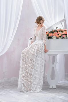 "Wedding dress by Belleza e Lusso. Collection ""Piano"" / Свадебное платье от Belleza e Lusso. Boho Wedding Dress, Designer Wedding Dresses, Boho Dress, Lace Wedding, Wedding Girl, Bridal Gowns, Wedding Gowns, Bohemian Bride, Gowns With Sleeves"