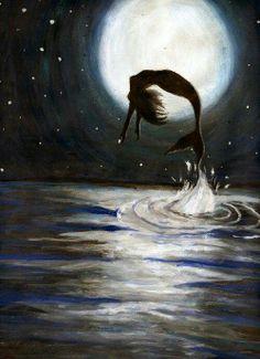 Dance by Moonlight...#mermaid #moon #ocean #fantasy #art