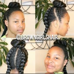 Easy to Follow Tutorial here--> http://www.browngirlsstyle.com/top-bun-cornrows-hairstyle/#blackgirlmagic #cornrows