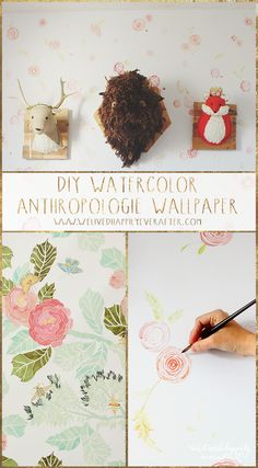 We Lived Happily Ever After: DIY Watercolor Anthropologie Floral Wallpaper Drop Cloth Rug, Drop Cloths, Best Royal Icing Recipe, Anthropologie Wallpaper, Diy Wallpaper, Make Your Own Wallpaper, Hand Drawn Fonts, Diy Inspiration, Ideias Diy