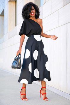 Style Pantry | One Shoulder Silk Blouse + B&W Polka Dot Midi Skirt