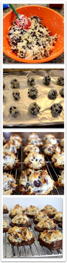 Chocolate Dipped Chocolate Chip Macaroon Recipe - Page 2 of 2 - Princess Pinky Girl Cookie Desserts, Just Desserts, Cookie Recipes, Delicious Desserts, Dessert Recipes, Yummy Food, Frosting Recipes, Cupcakes, Cupcake Cakes