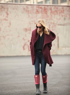 Boots: Hunter c/o | Coat: Tahari | Jeans: Joie | Sweater: Express