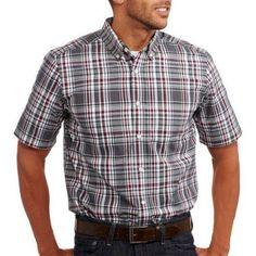 George Men's Short Sleeve Poplin Shirt, Size: Large, Multicolor