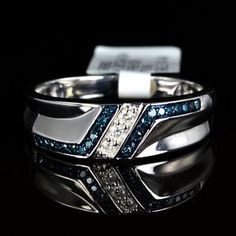 rubies.work/… Mens White 14k Gold Gp Genuine Real Blue Diamond Ring Engagement Wedding Band