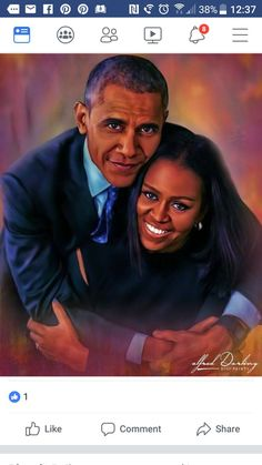 I love the beautiful background colors in this pic, and of course former President Barack Obama and first lady Michelle Obama.