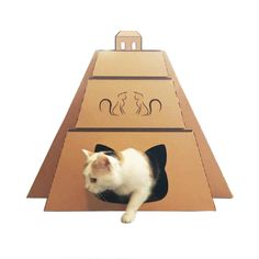Gift of Gods Cardboard Cat House designed as a Mayan Pyramid Temple