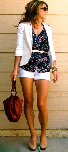 clean summer white shorts and white blazer!