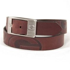 Green Bay Packers Branded Brown Leather Belt
