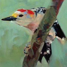 "Daily Paintworks - ""Woodpecker Yoga Pose"" - Original Fine Art for Sale - © Patti McNutt"