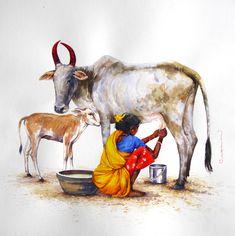 art for online sale. Famous Artists Paintings, Indian Art Paintings, Animal Paintings, Indian Artwork, Pastel Paintings, Village Scene Drawing, Art Village, India Painting, Artist Painting