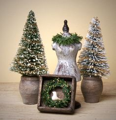 Decorative Snowy Miniature Fir Trees in Wooden Pot by DinkyWorld on Etsy