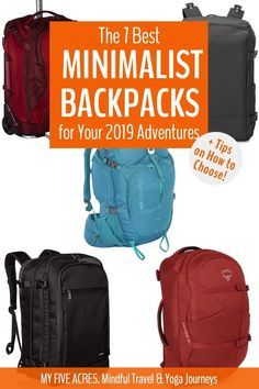 The 7 Best Minimalist Backpacks for Travel + How to Choose Update) My Five Acres. The 7 Best Minimalist Backpacks for Travel + How to Choose Minimalist packing is all about maximizin Best Carry On Backpack, Chic Backpack, Carry On Packing, Packing Tips For Travel, Travel Essentials, Travel Info, Travel Bags, Travel Gifts, Travel Advice