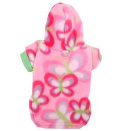 Dog Clothes Pink Butterflies Pet Hoodie Fleece