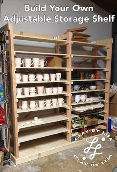 Build Your Own Adjustable Storage Shelf for pottery for around $100 in materials! Takes about a day to make! You don't even need to paint it!