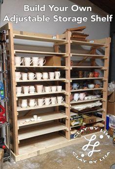 DIY Storage Shelf for Your Ceramics Studio Ceramic Workshop, Pottery Workshop, Pottery Studio, Pottery Shop, Diy Storage Shelves, Art Storage, Storage Ideas, Ceramic Techniques, Pottery Techniques