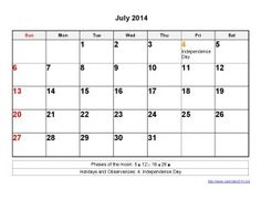 Printable Calendar 2014 July Templates