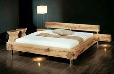 Bett Balken-Bett Mehr Pallet Beds, Pallet Furniture, Furniture Design, Cama Industrial, Vogue Home, Diy Platform Bed, Diy Bed Frame, Wood Beds, Bed Plans