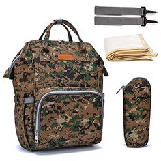 Free,Camo Diaper Bag Backpack Multifunction Nappy Bags Large Travel Backpack for Baby Care (Green)