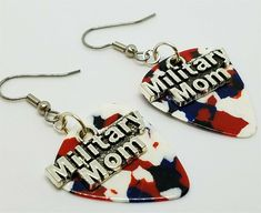 Military Mom Charms Guitar Pick Earrings - Pick Your Color #Handmade #Charm Crystal Earrings, Clip On Earrings, Sterling Silver Earrings, Military Jewelry, Guitar Pick Jewelry, Military Mom, Guitar Picks, My Ebay, Charms